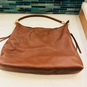 New Brown slouch tote with gold trim and zipper